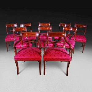 Set of Ten Regency Mahogany Dining Chairs