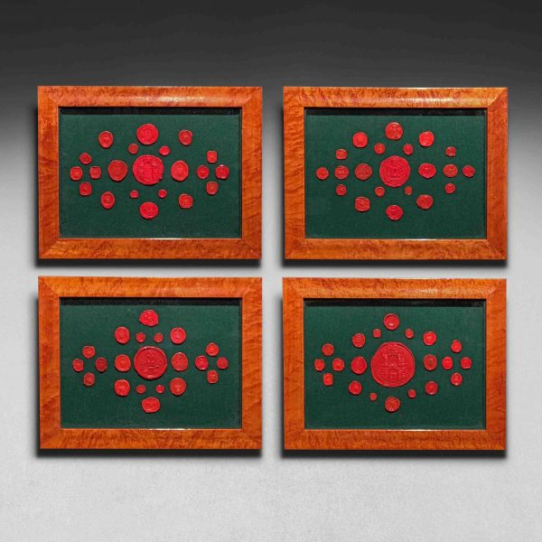 19th Century Framed Set of 84 Red Wax Seals