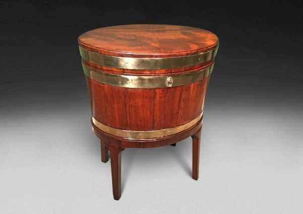 George III period Mahogany and Brass Oval Wine Cooler on stand
