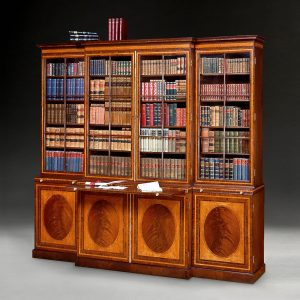 George III Mahogany and Inlaid Breakfront Bookcase
