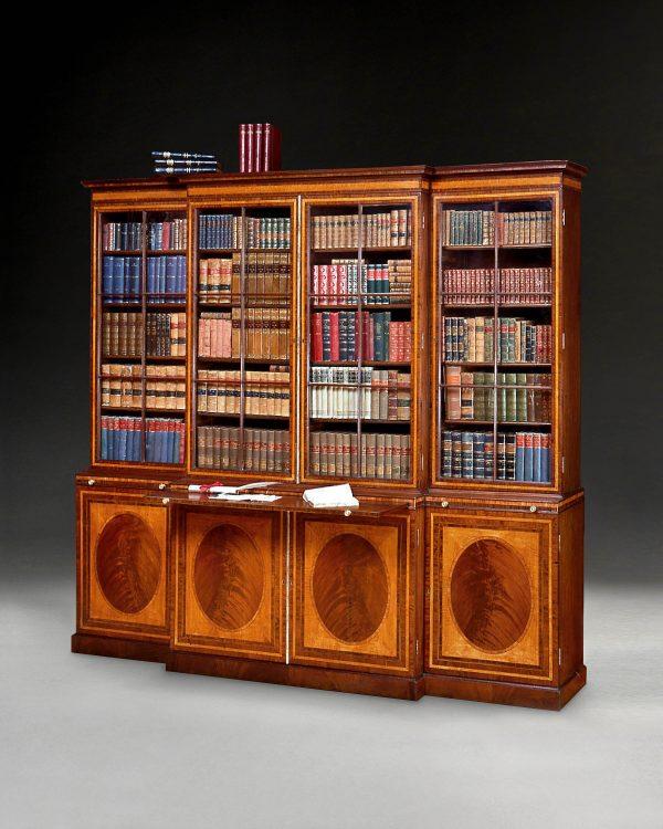 George III Mahogany and Inlaid Breakfront Bookcase