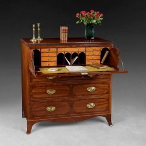 Sheraton Inlaid Mahogany Secretaire Chest