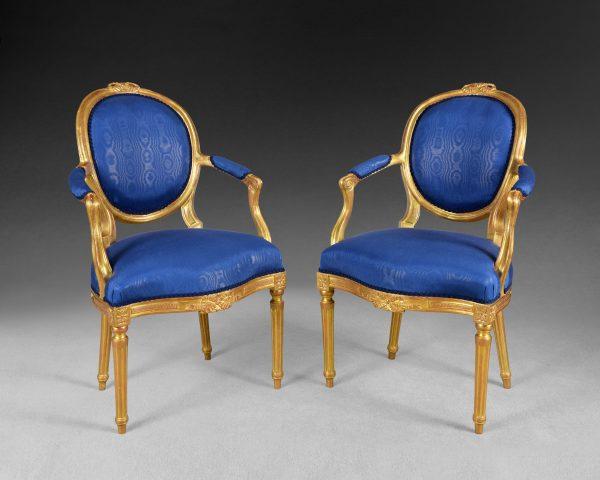 Pair of George III Giltwood Salon Armchairs