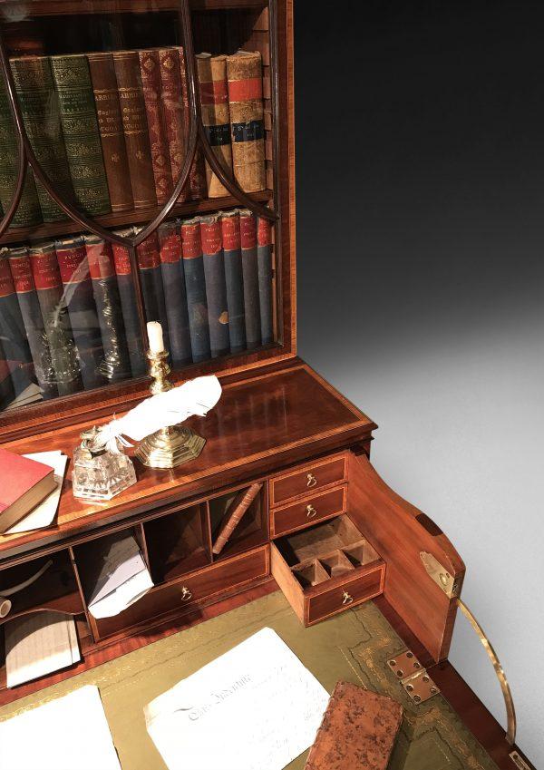 George III Period Inlaid Mahogany Secretaire Bookcase