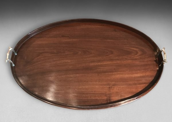 George III Mahogany Oval Galleried Serving Tray