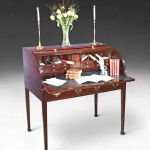 George III Mahogany Tambour Library Centre Desk