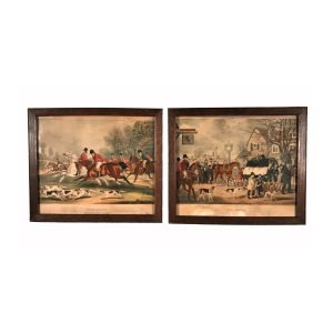 Nicholas Parsons Collection – Pair of 19th Century Equestrian Hunting Scene Lithographs of Tom Moody